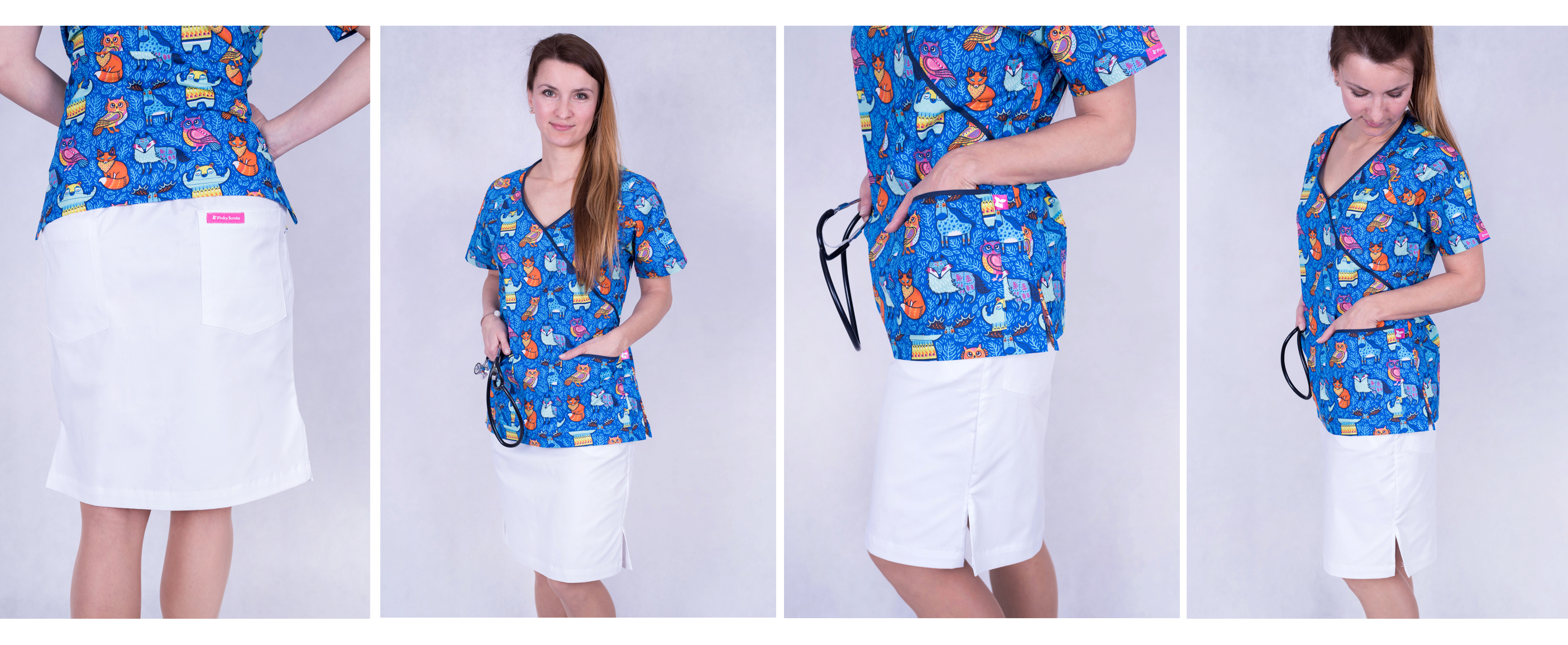 Bílá zdravotnická sukně a modrá zdravotnická halena s obrázky