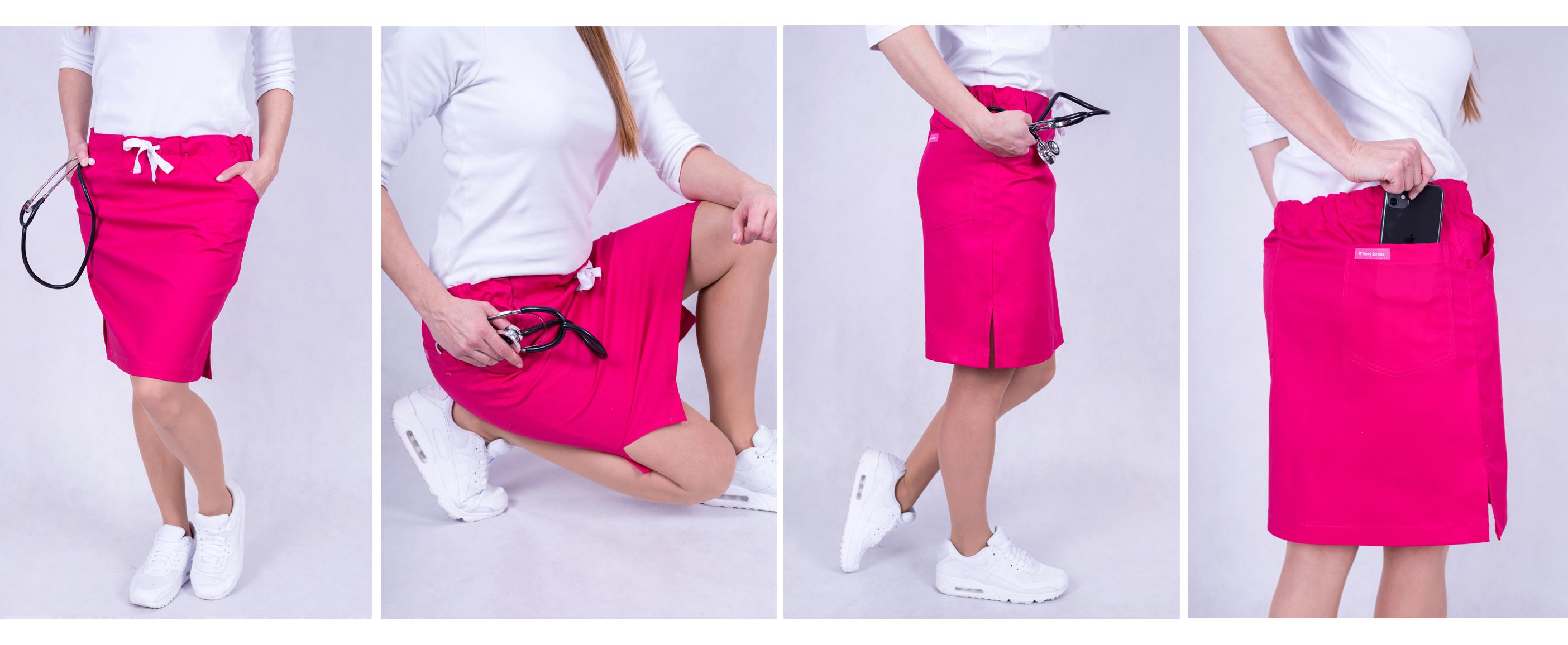 Zdravotnická sukně barevná - růžová