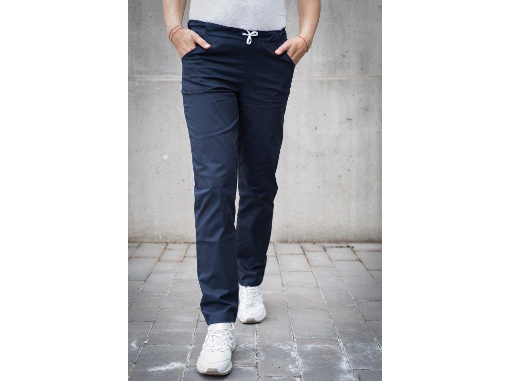 Kalhoty tmavě modré s elastanem