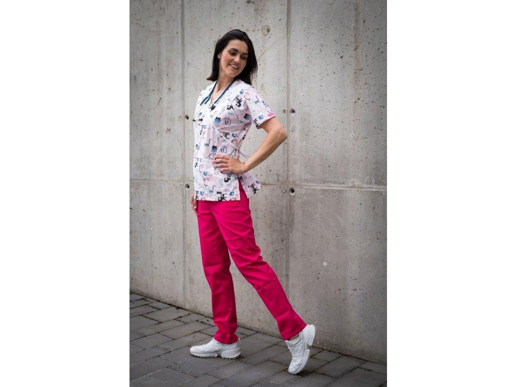 Zdravotnické kalhoty růžové