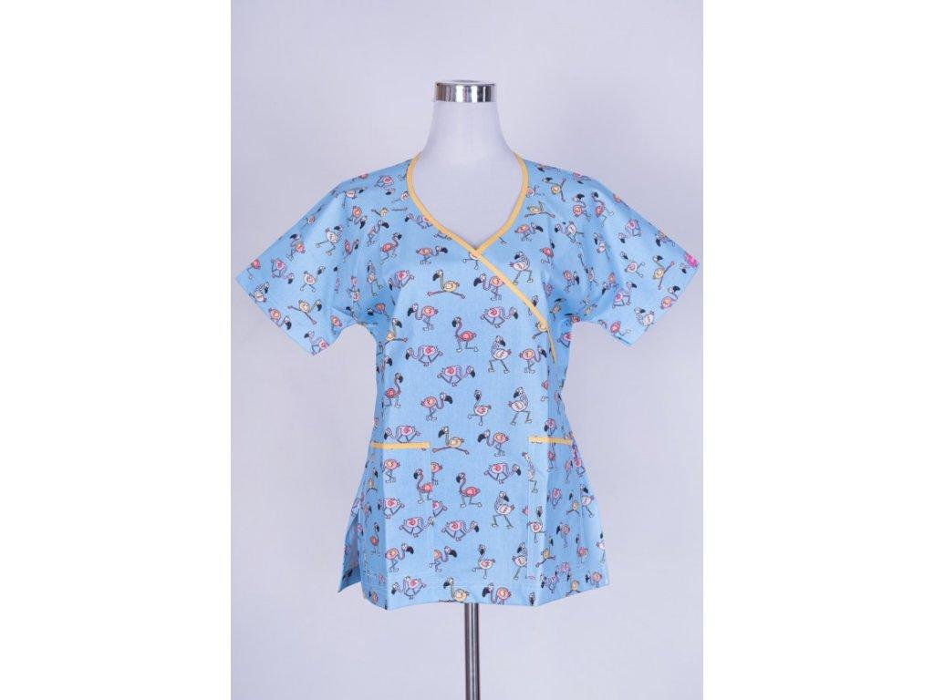 Zdravotnická halena modrá s ptáčky zavazovací