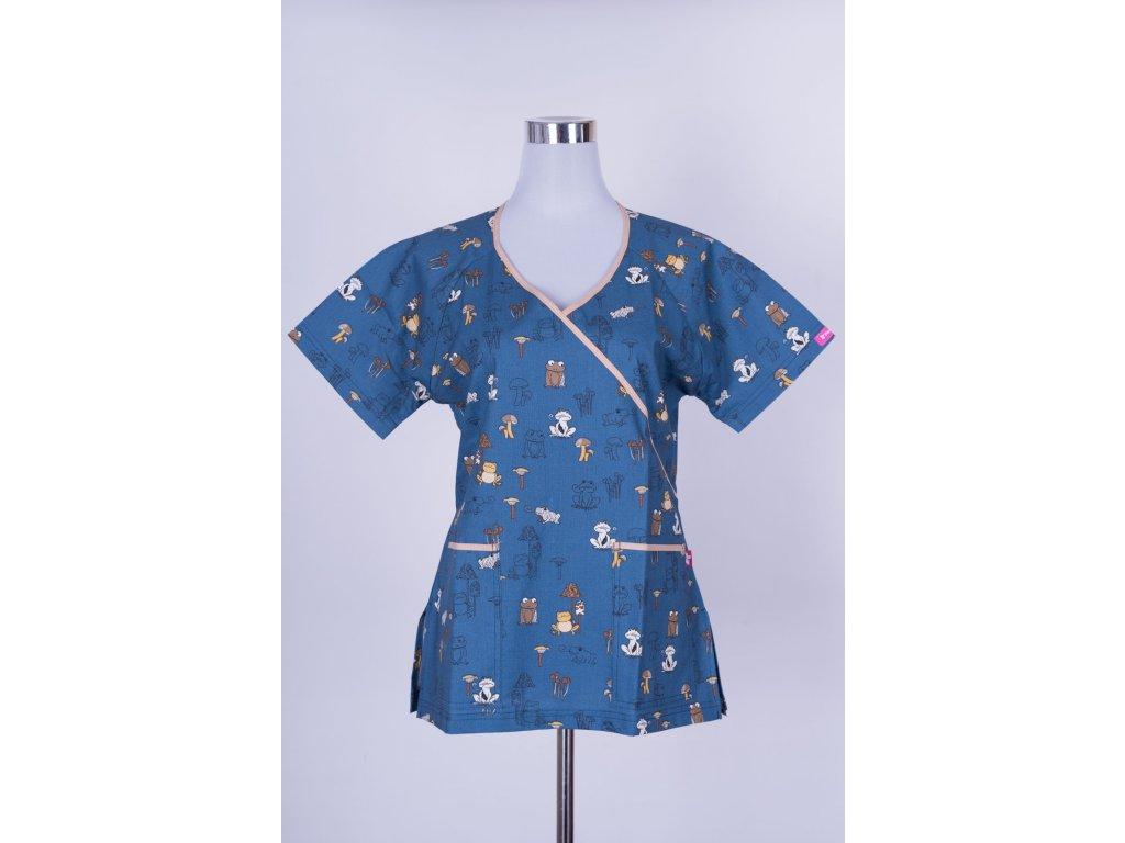 Zdravotnická halena modrá s žábami zavazovací