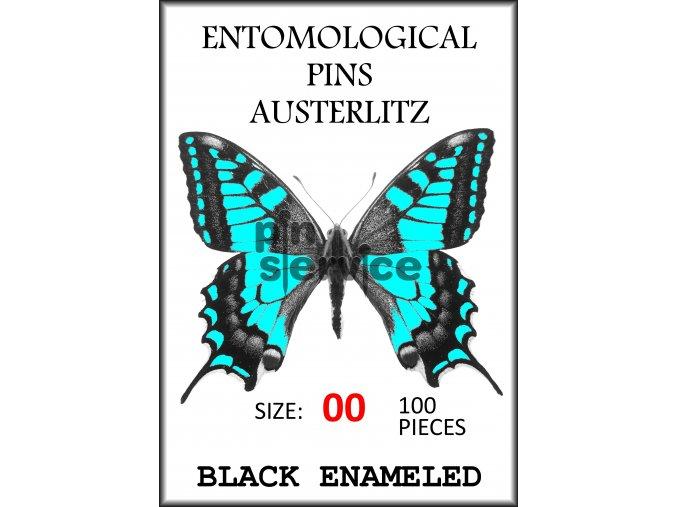 Black enameled pins - size 00 - 100 pcs