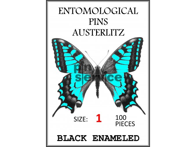 Black enameled pins - size 1 - 100 pcs