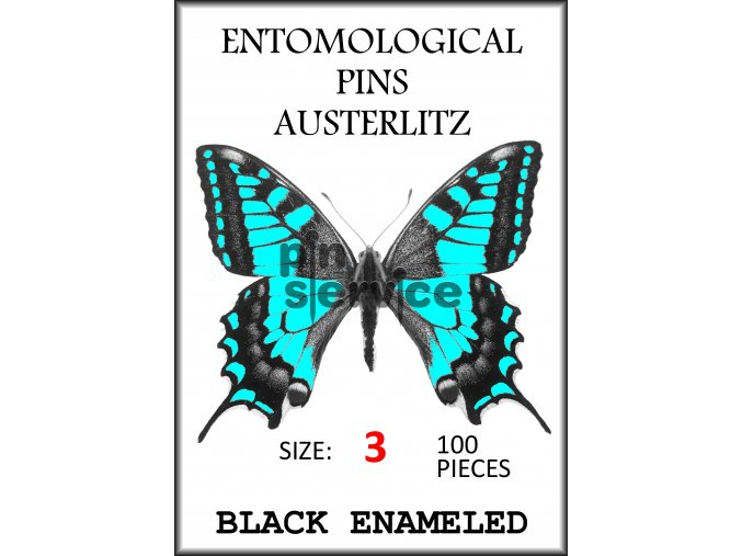 Black enameled pins - size 3 - 100 pcs