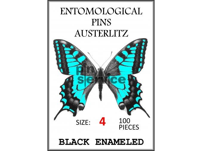 Black enameled pins - size 4 - 100 pcs