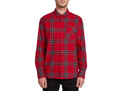 KOSILE VOLCOM CADEN PLAID ENGINE RED