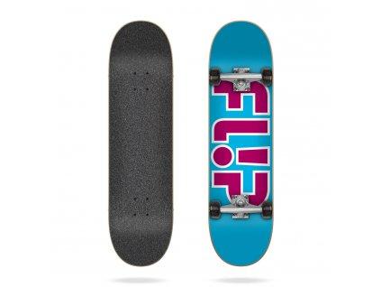 flip team outlined light blue 7 25 complete skateboard