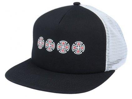 cross sequent meshback black white trucker independent