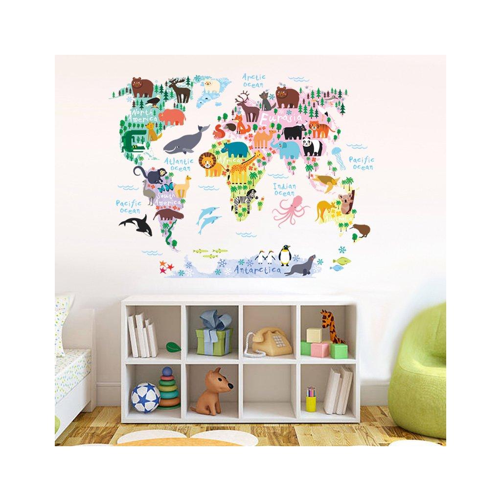 """Samolepka na zeď """"Barevná Mapa Světa 3"""" 70x90 cm"""