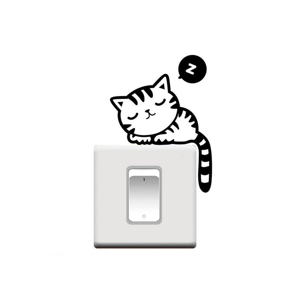 """Samolepka na vypínač """"Spící Kočička"""" 14x17 cm"""