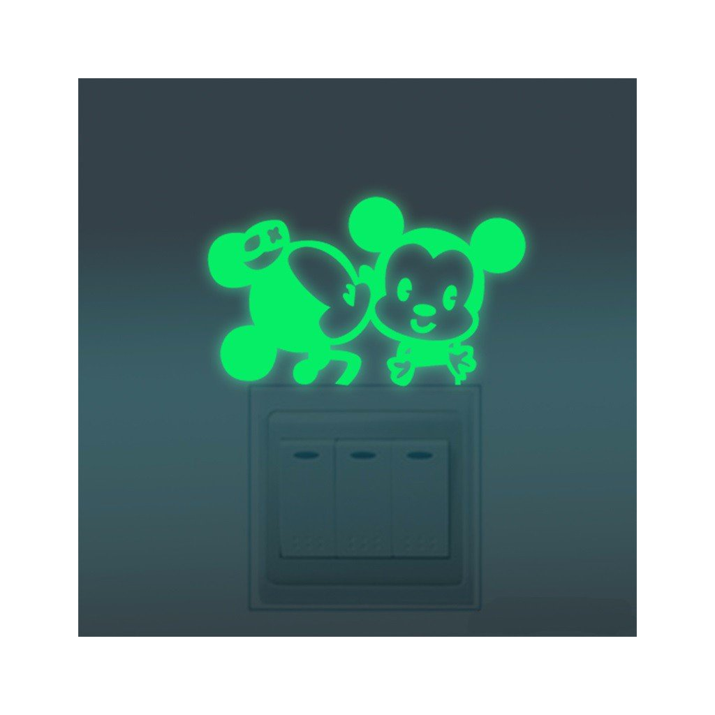 """Fosforová samolepka na vypínač """"Mickey a Minnie"""" 10x6 cm"""