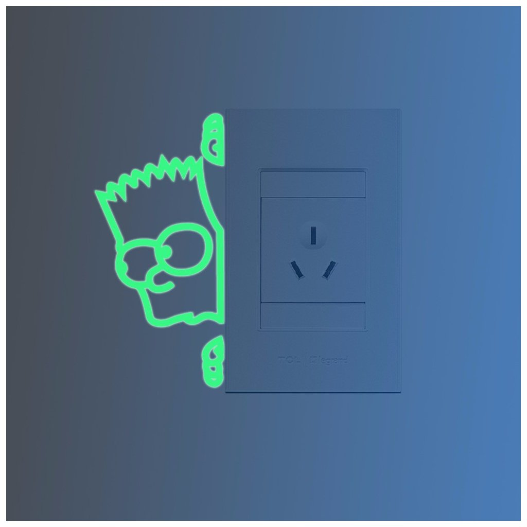 "Fosforová samolepka na vypínač ""Simpsonovi - Bart"" 12x5 cm"