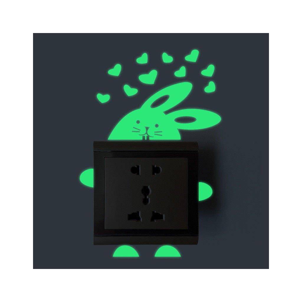 """Fosforová samolepka na vypínač """"Zajíček"""" 13x8 cm"""