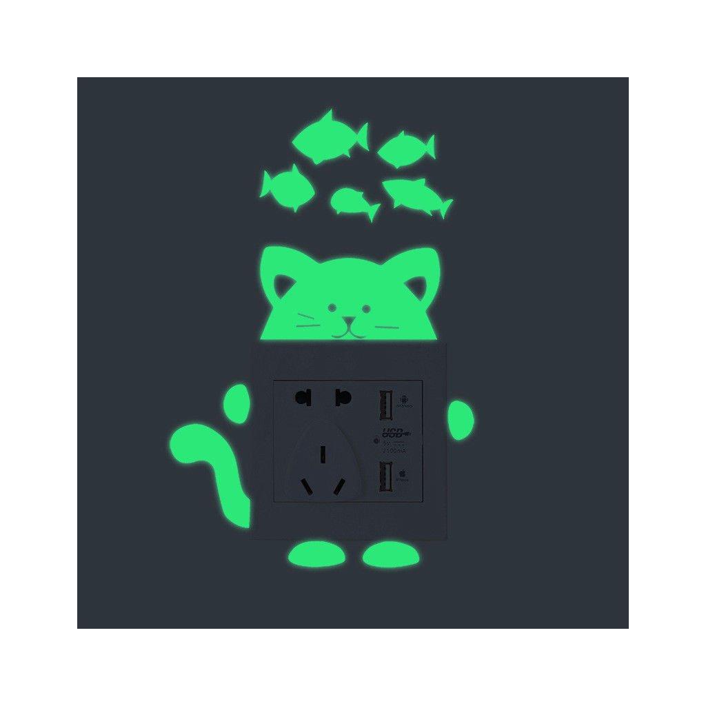 """Fosforová samolepka na vypínač """"Kočička s rybičkami"""" 9x10 cm"""