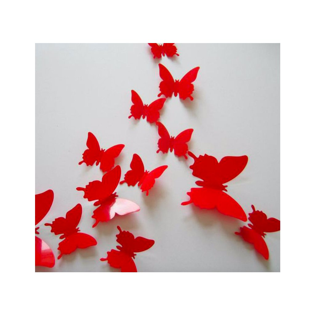 3D plastové motýle červené