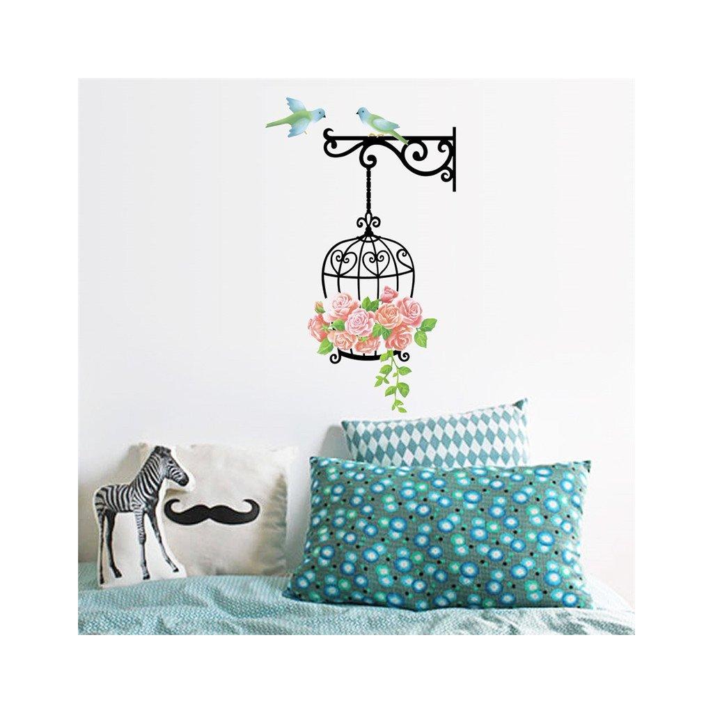 samolepiaca tapeta dekoracna samolepka na stenu nalepka farebna klietka s vtakmi styl interierovy dizajn dekoracia nahlad stylovydomov