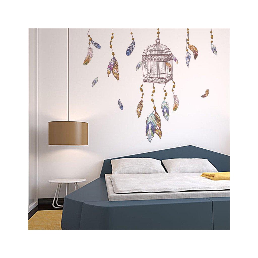 samolepiaca tapeta dekoracna samolepka na stenu nalepka farebne pierka klietka styl interierovy dizajn dekoracia nahlad stylovydomov