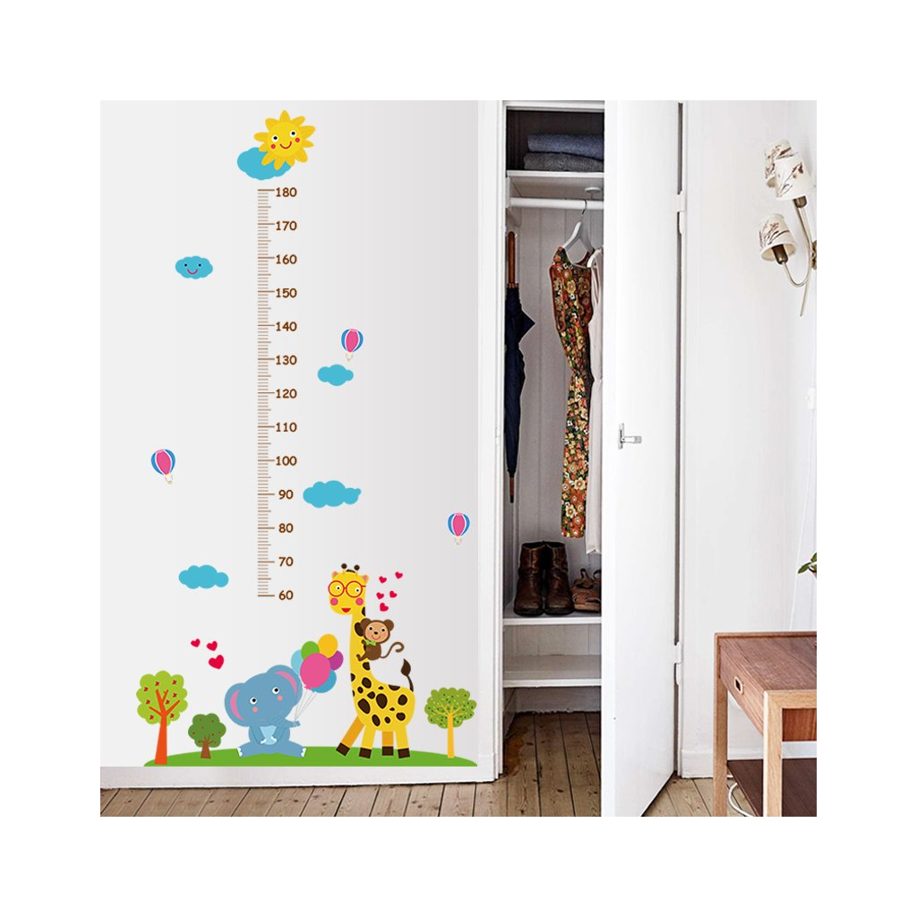"""Samolepka na zeď """"Dětský metr - Žirafa se sloníkem"""" 177x100cm"""