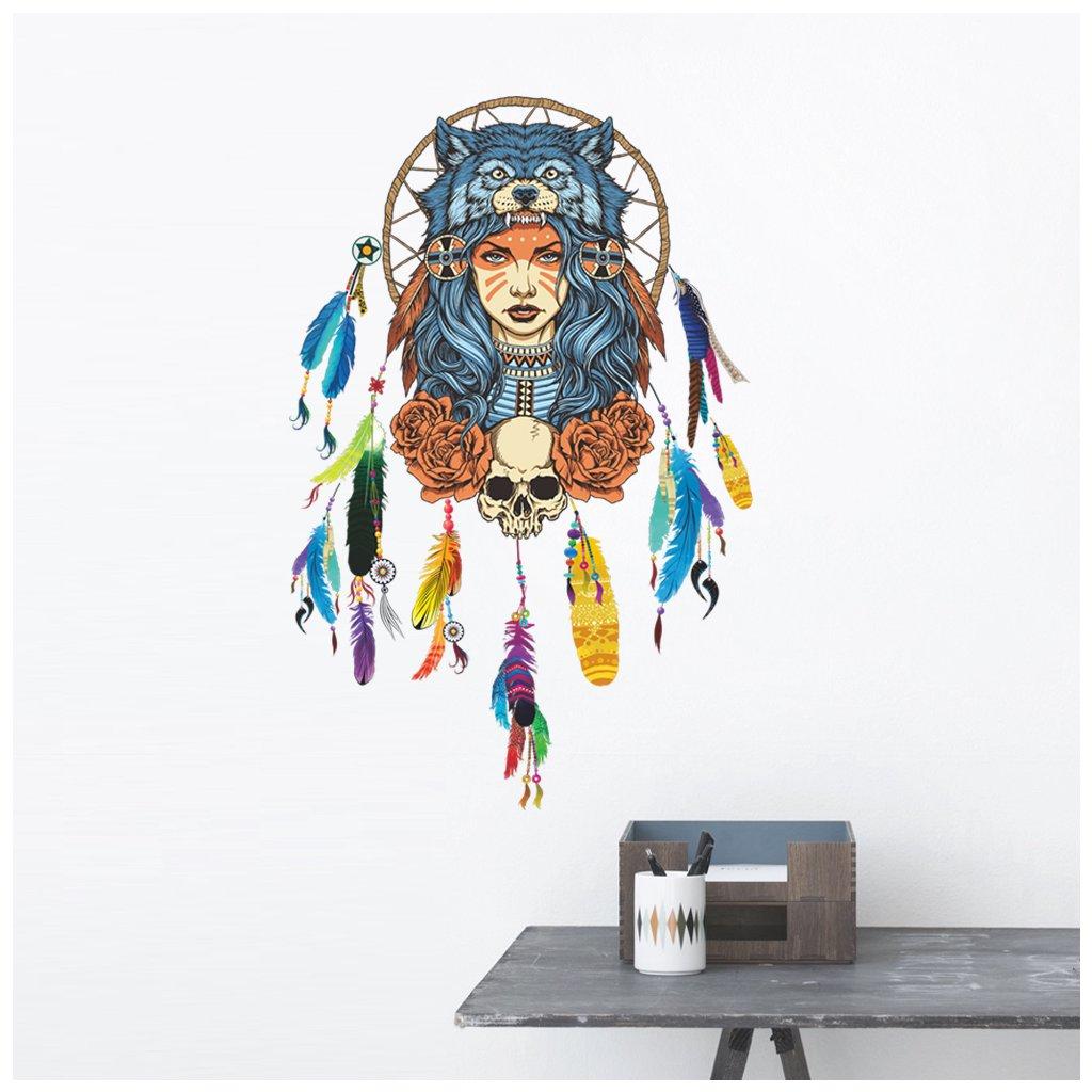 samolepiaca tapeta dekoracna samolepka na stenu nalepka zena vlk farebny lapac snov styl interierovy dizajn dekoracia vizualizacia stylovydomov
