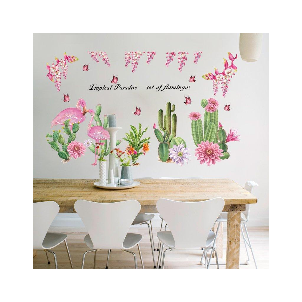"Samolepka na zeď ""Kaktusy a plameňáci"" 64x108cm"