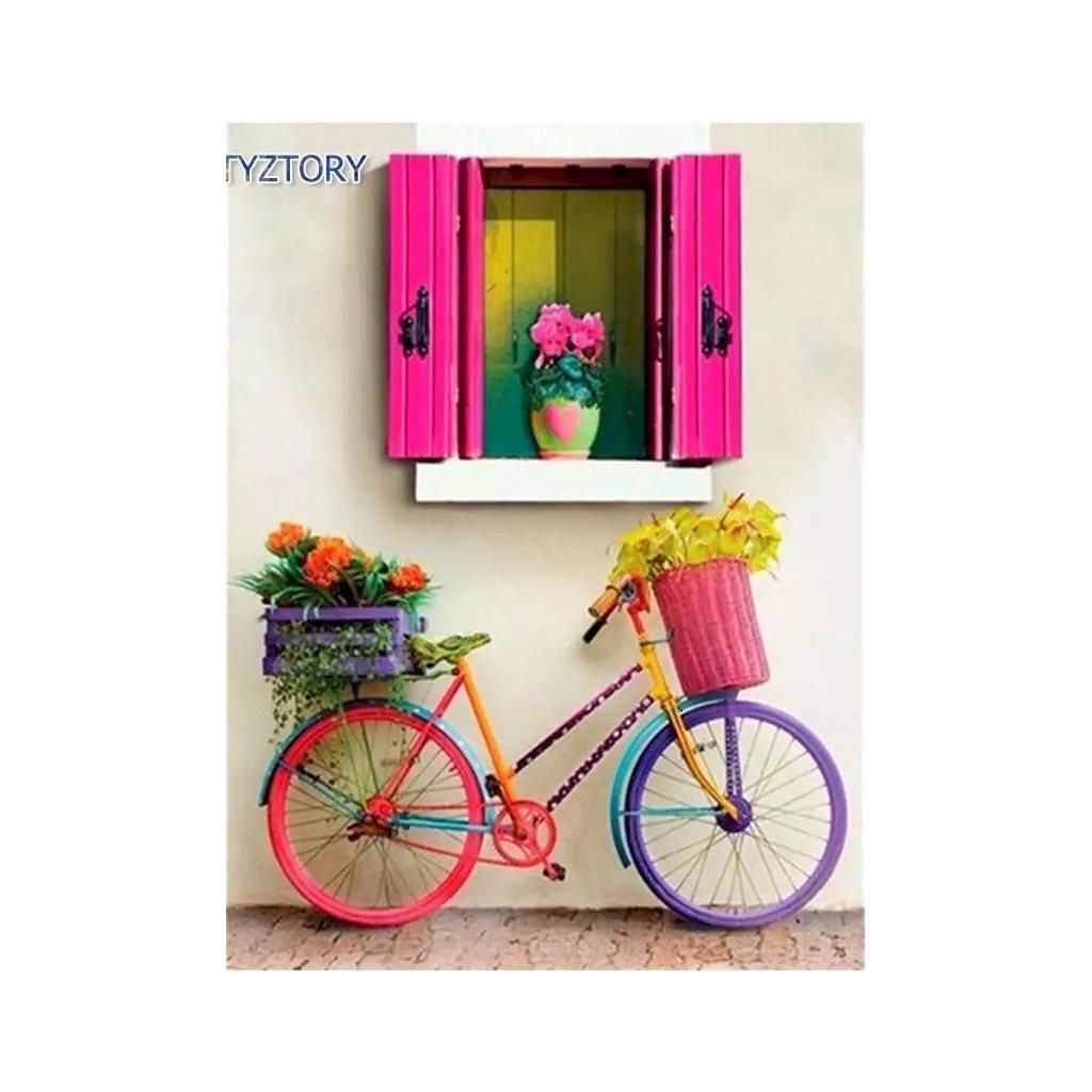"""Malování podle čísel  """"Kolo s květinami"""" 50x40 cm"""