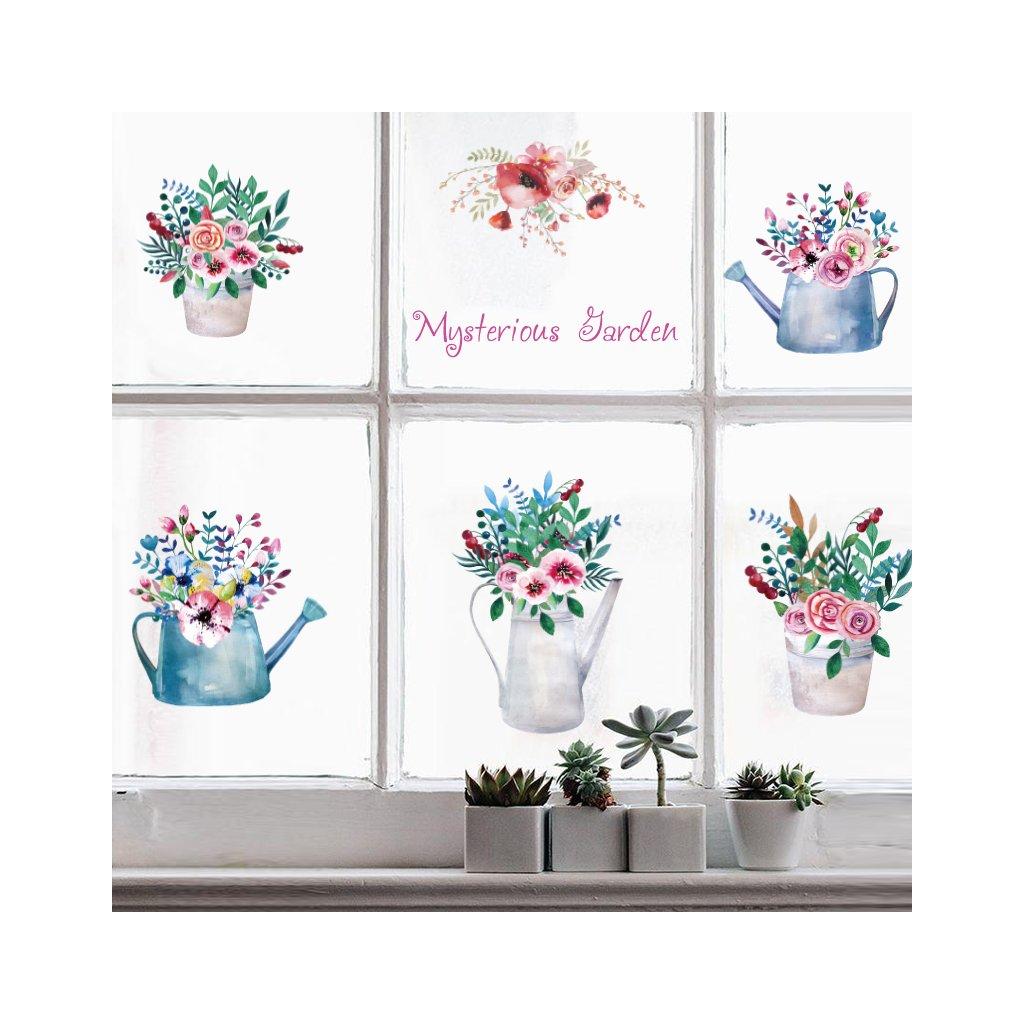 """Samolepka na zeď """"Květiny ve vázách"""" 65x112cm"""