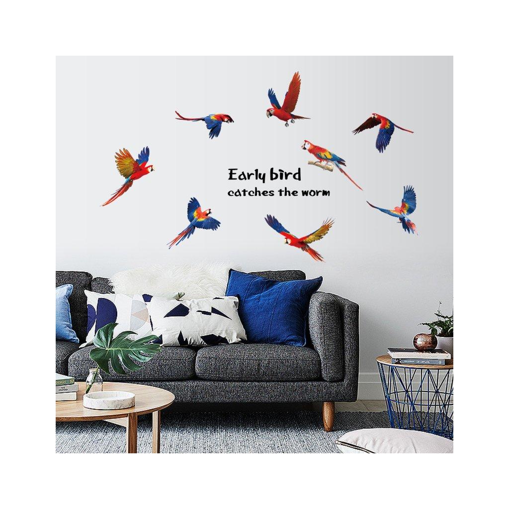 """Samolepka na zeď """"Papoušci Ara"""" 85x117cm"""