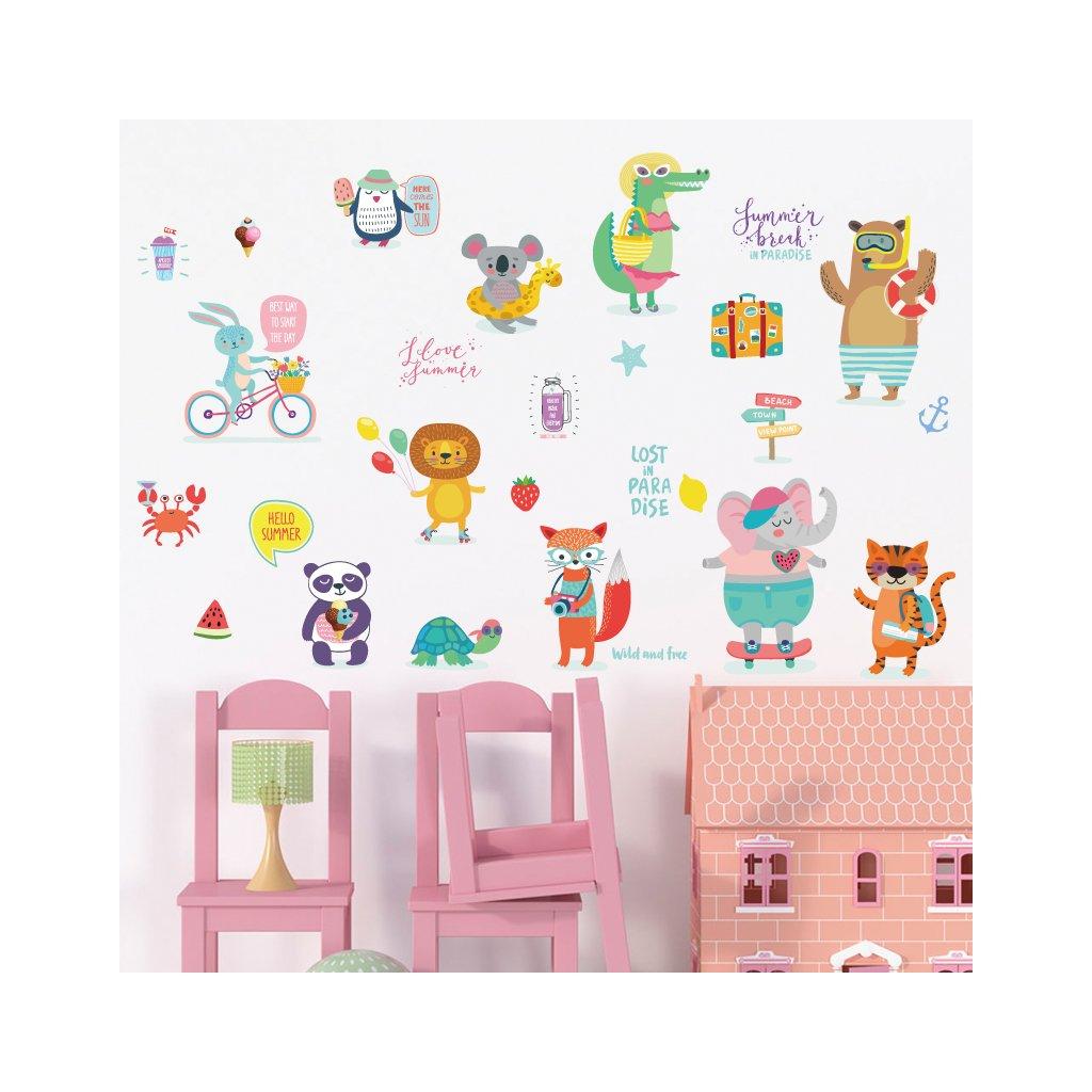 """Samolepka na zeď """"Zvířátka na dovolené"""" 49x72 cm"""
