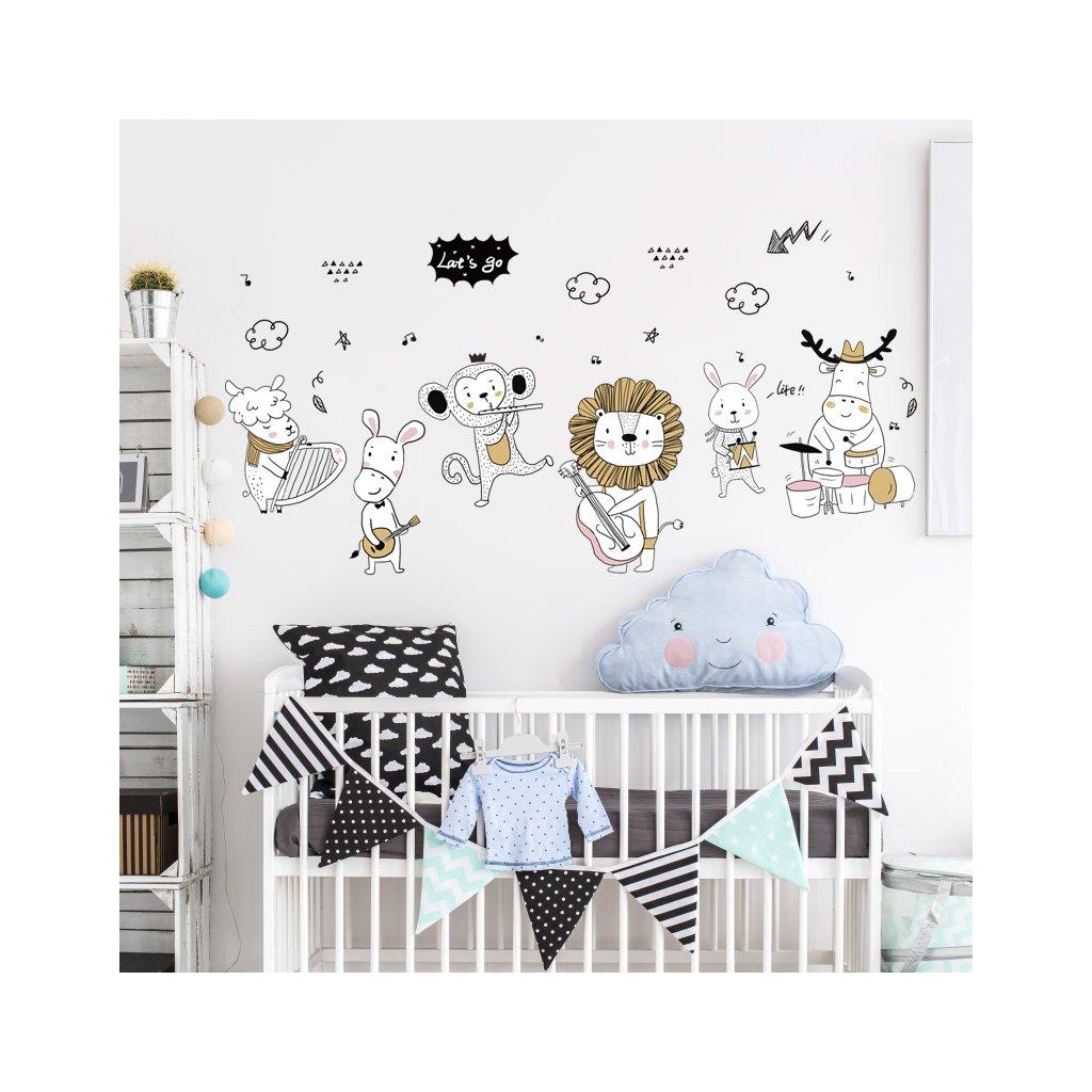 """Samolepka na zeď """"Zvířátka - hudebníci"""" 42x111 cm"""