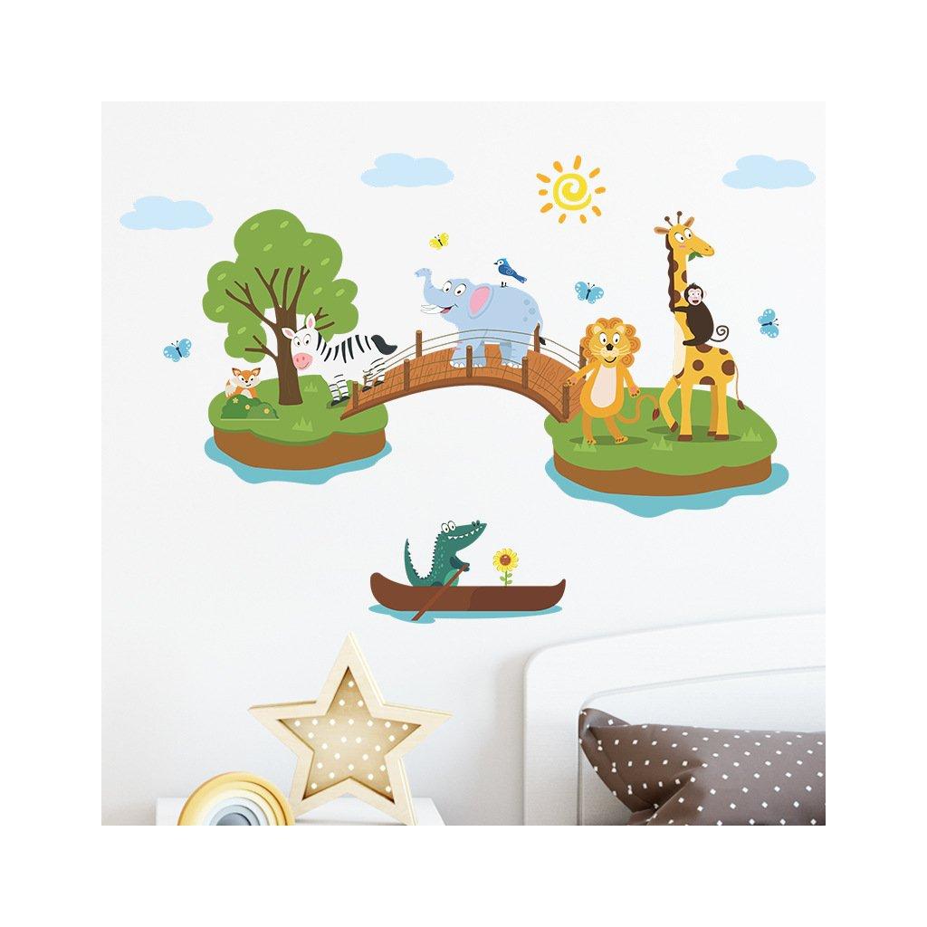 """Samolepka na zeď """"Zvířátka z džungle 3"""" 67x120 cm"""