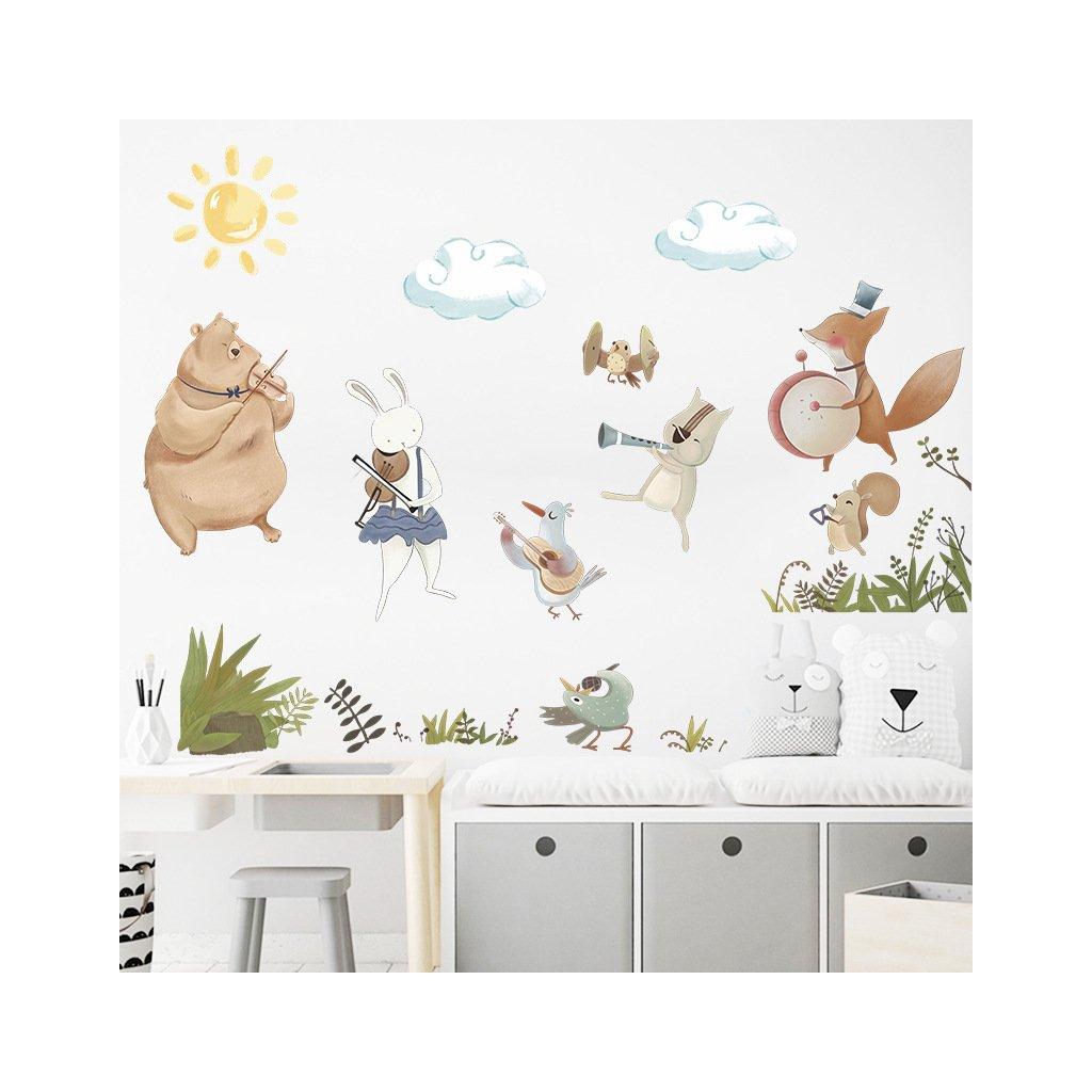 """Samolepka na zeď """"Zvířátka - hudebníci 2"""" 72x120 cm"""