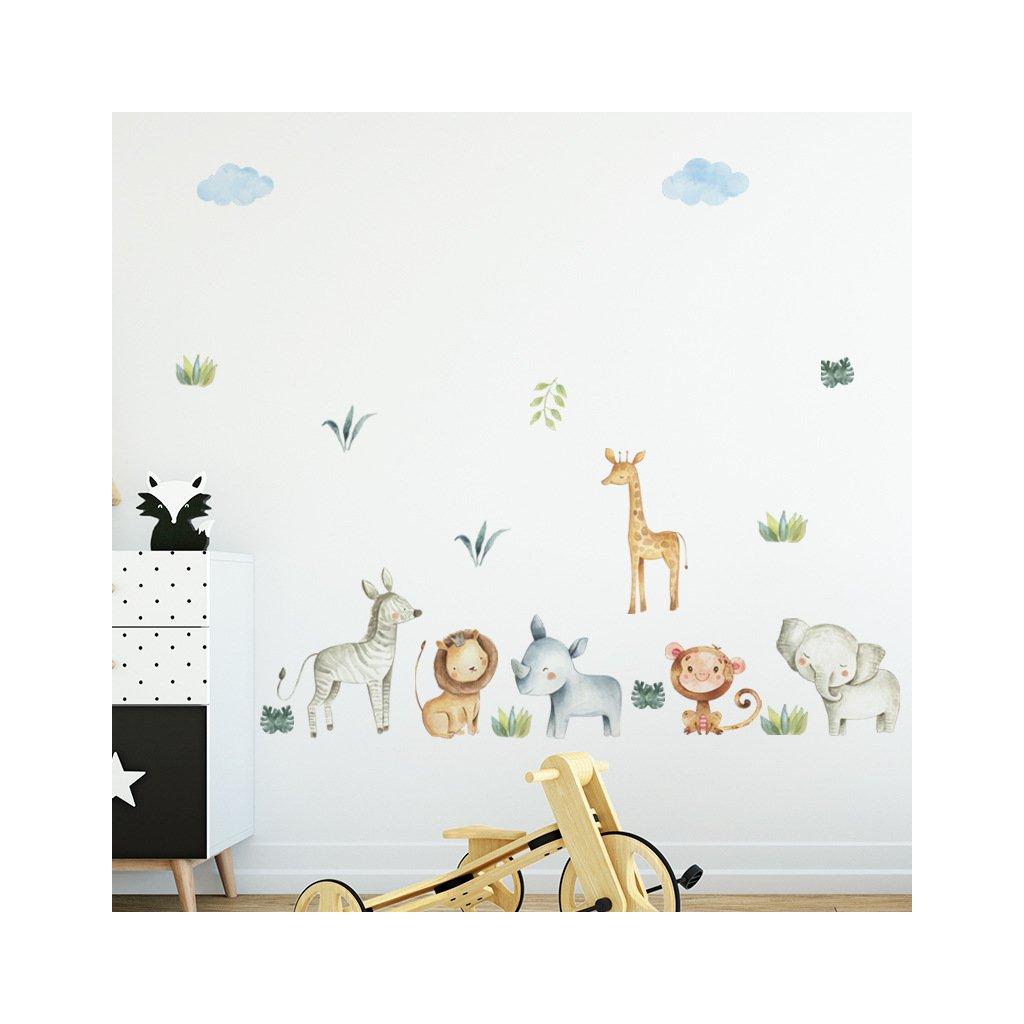 """Samolepka na zeď """"Exotické zvířátka 2"""" 66x150 cm"""