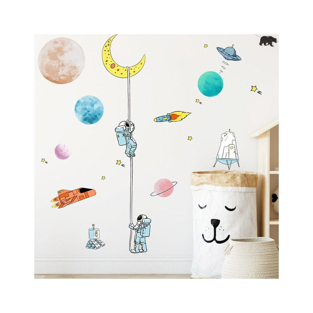 """Samolepka na zeď """"Astronauti 2"""" 125x90 cm"""