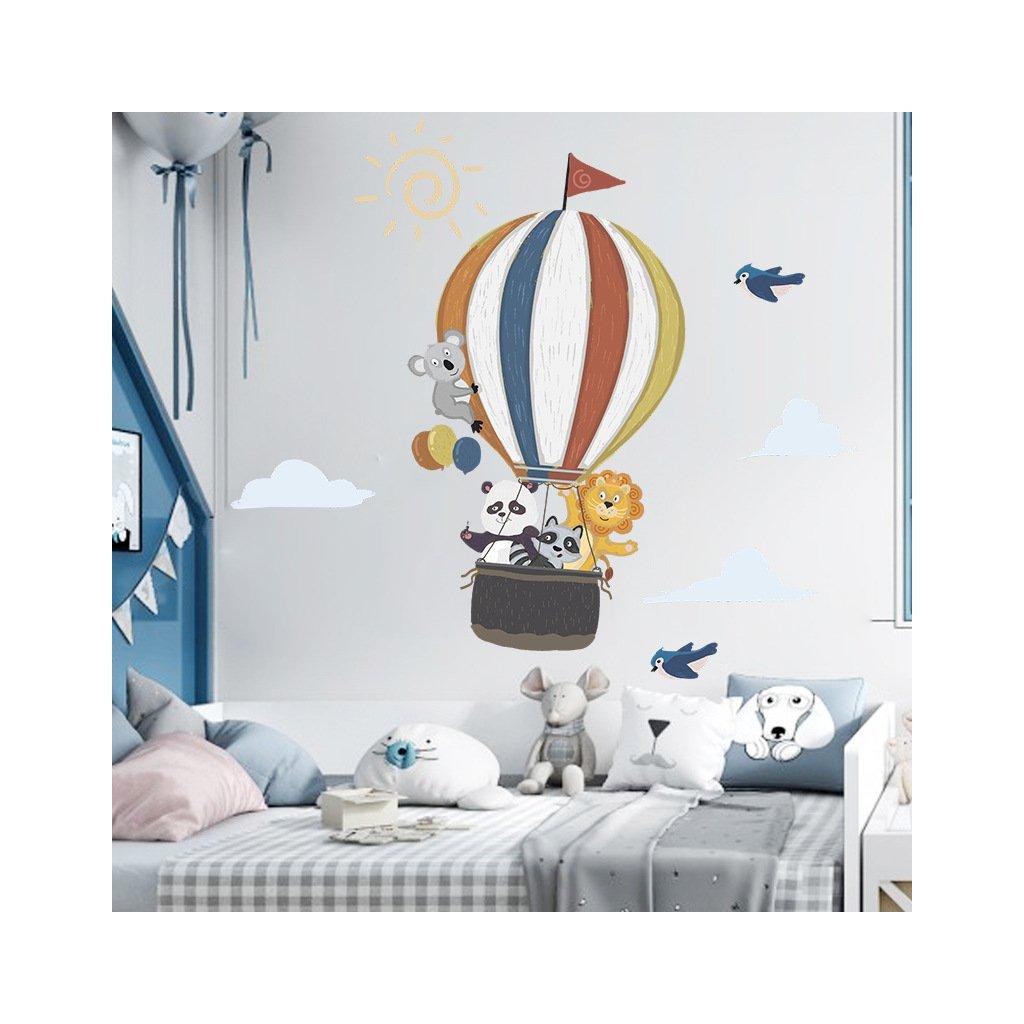 """Samolepka na zeď """"Horkovzdušný balón se zvířátky"""" 99x110 cm"""