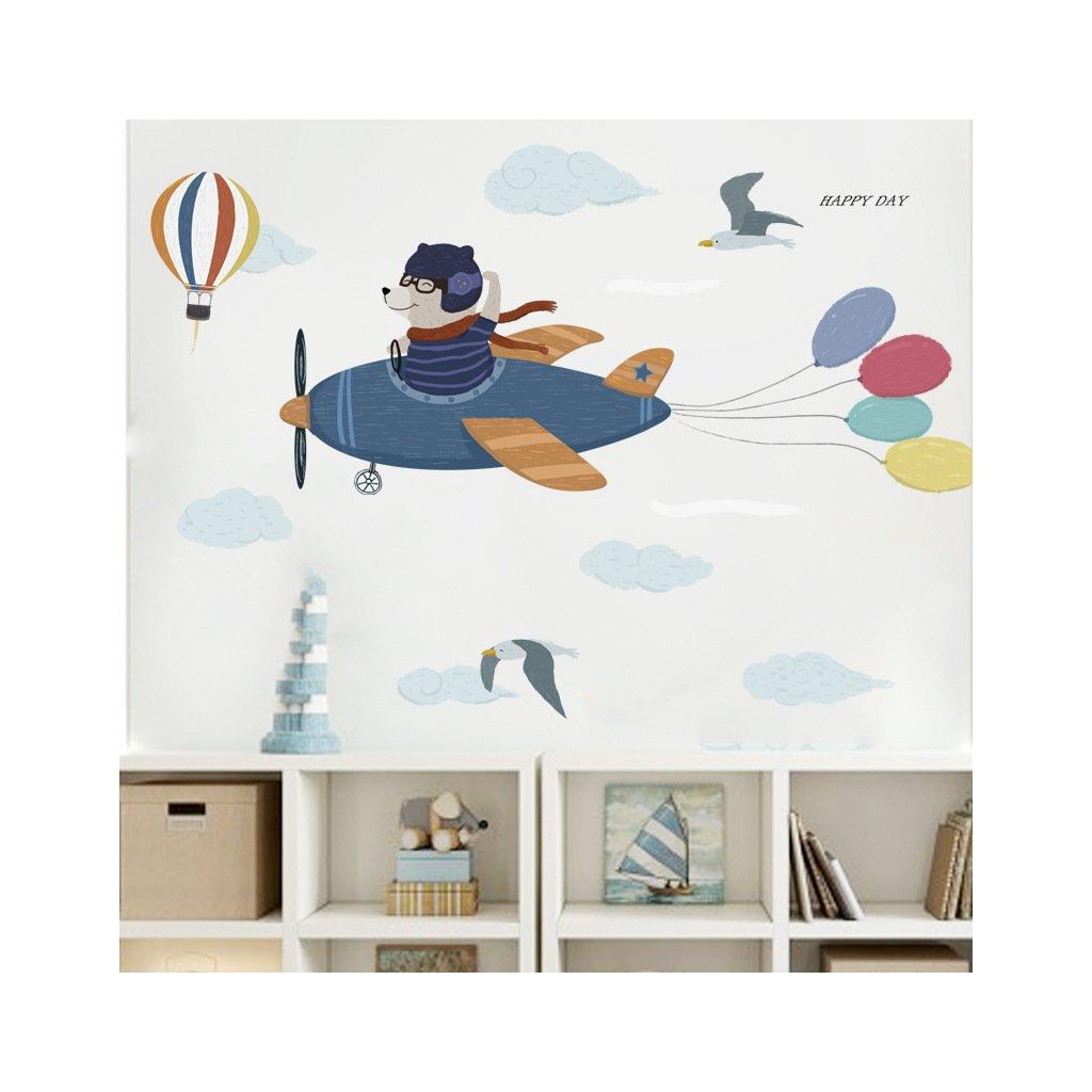 """Samolepka na zeď """"Medvěd v letadle"""" 55x150 cm"""
