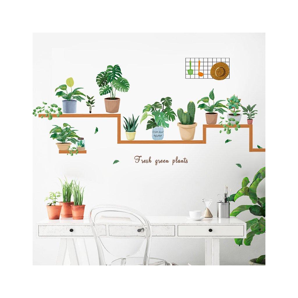 """Samolepka na zeď """"Rostliny v květináčích 3"""" 66x125 cm"""