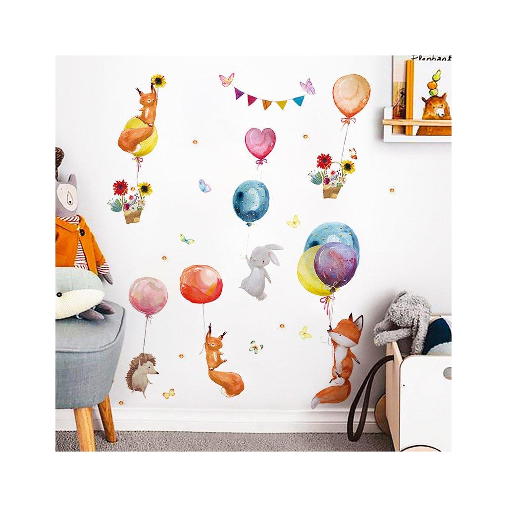 """Samolepka na zeď """"Zvířátka s balony 3"""" 100x107 cm"""