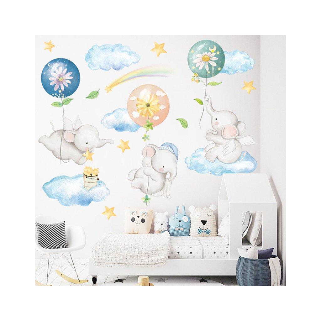 """Samolepka na zeď """"Sloni na obláčcích"""" 86x111 cm"""