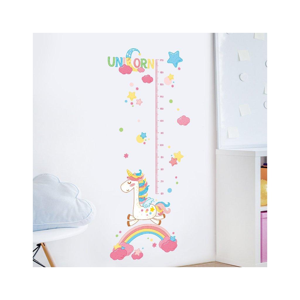 """Samolepka na zeď """"Dětský metr - Jednorožec"""" 170x70 cm"""
