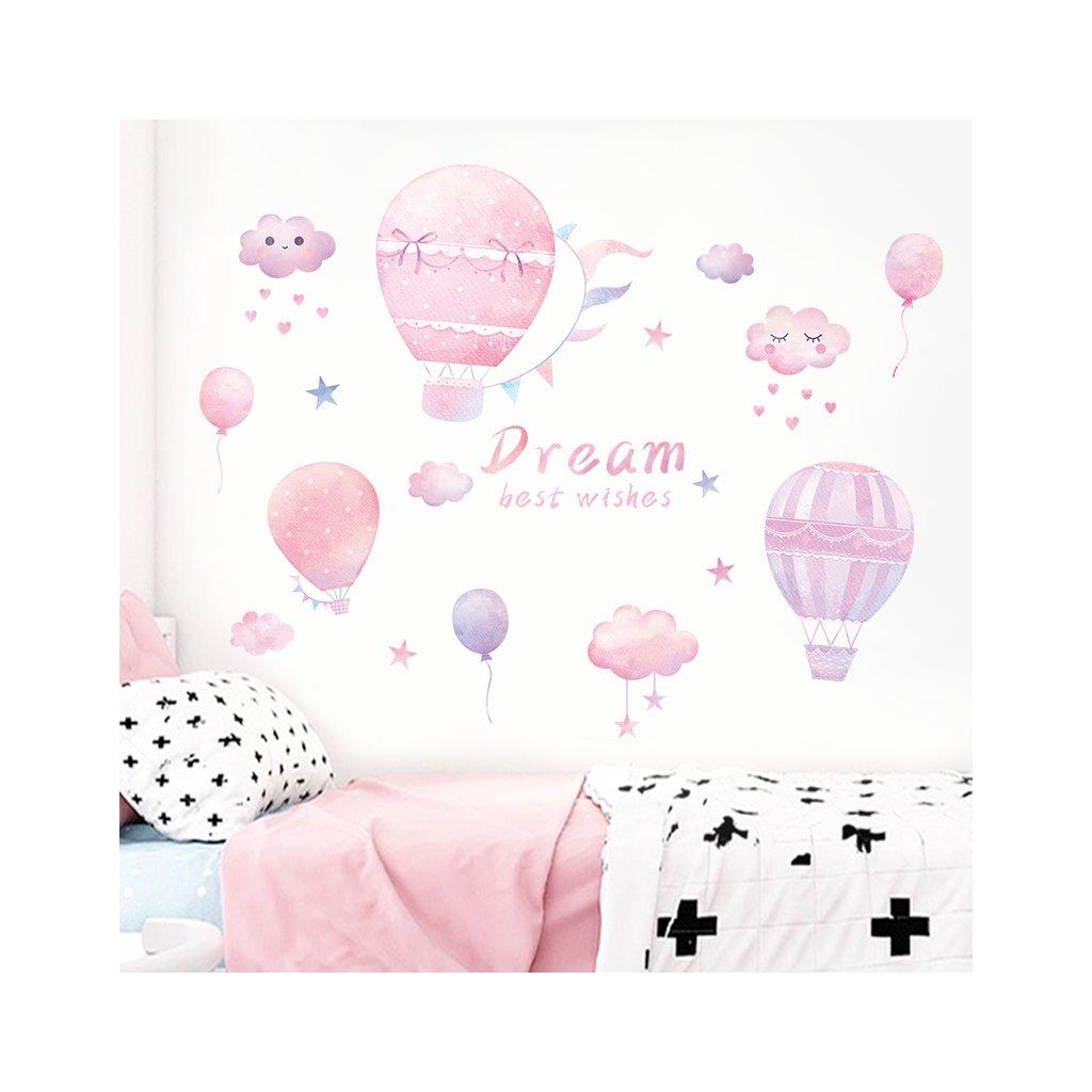 """Samolepka na zeď """"Růžové horkovzdušné balóny"""" 87x117 cm"""