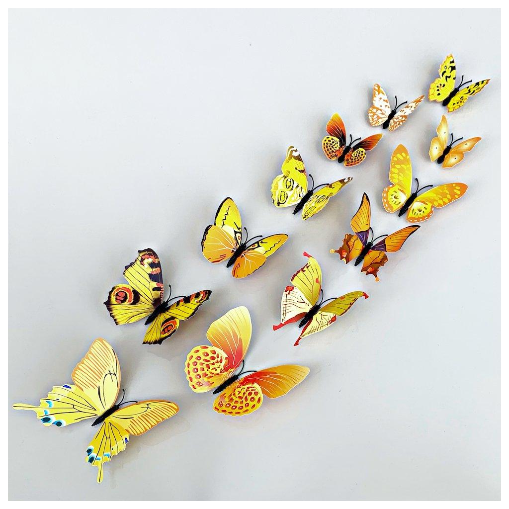 M 019 Realistické plastové 3D Motýle žlté kópia