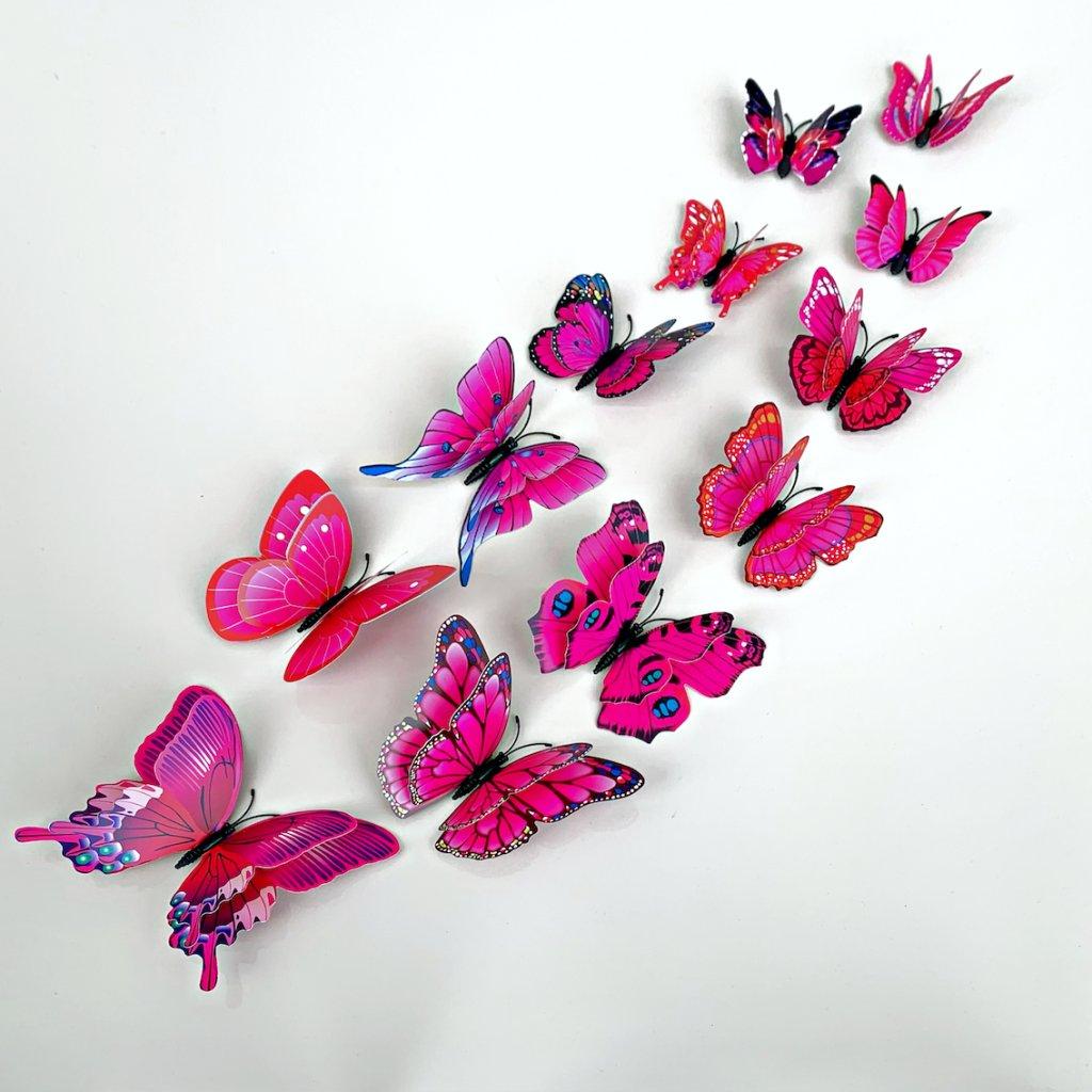 M 022 Realistické plastové 3D Motýle s dvojitými krídlami ružové kópia