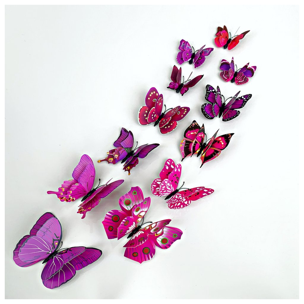M 023 Realistické plastové 3D Motýle s dvojitými krídlami fialové kópia
