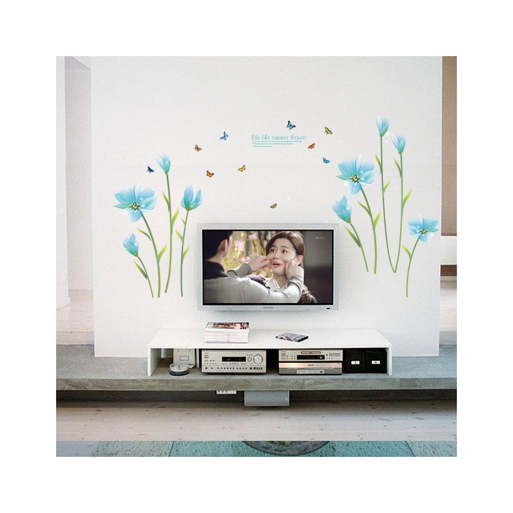 """Samolepka na zeď """"Bleděmodré květy"""" 105x185cm"""