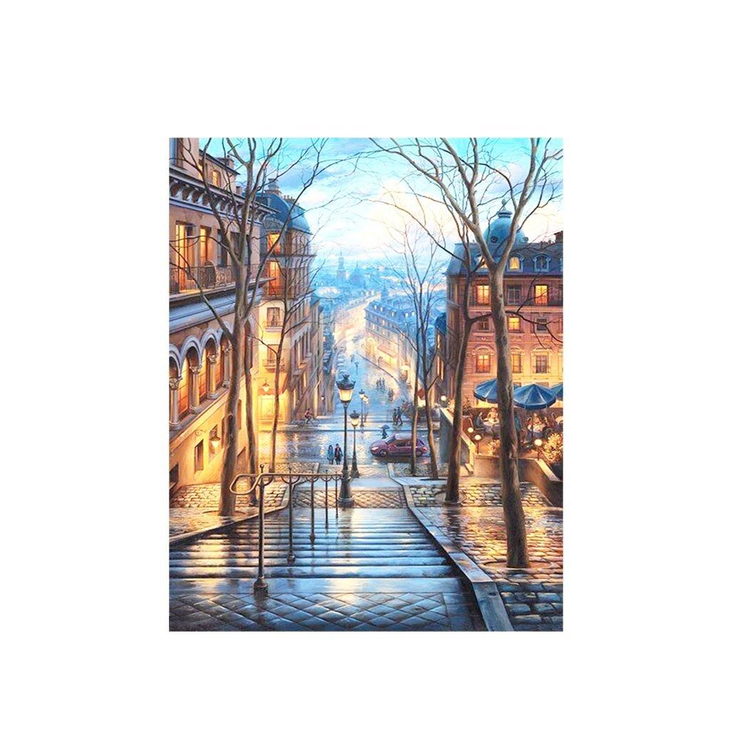"""Malování podle čísel s rámem """"Pouliční schodiště"""" 50x40cm"""