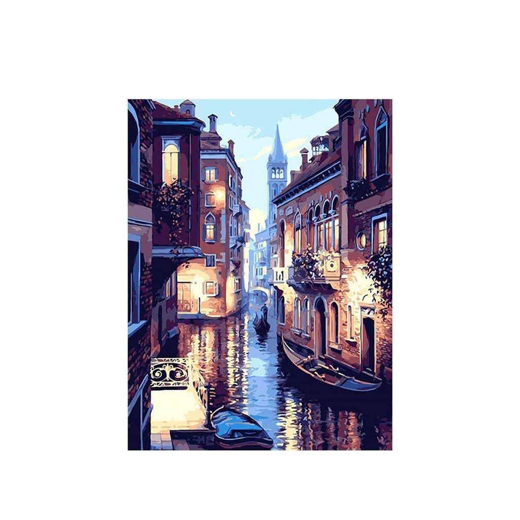 """Malování podle čísel s rámem """"Benátky 5"""" 50x40cm"""