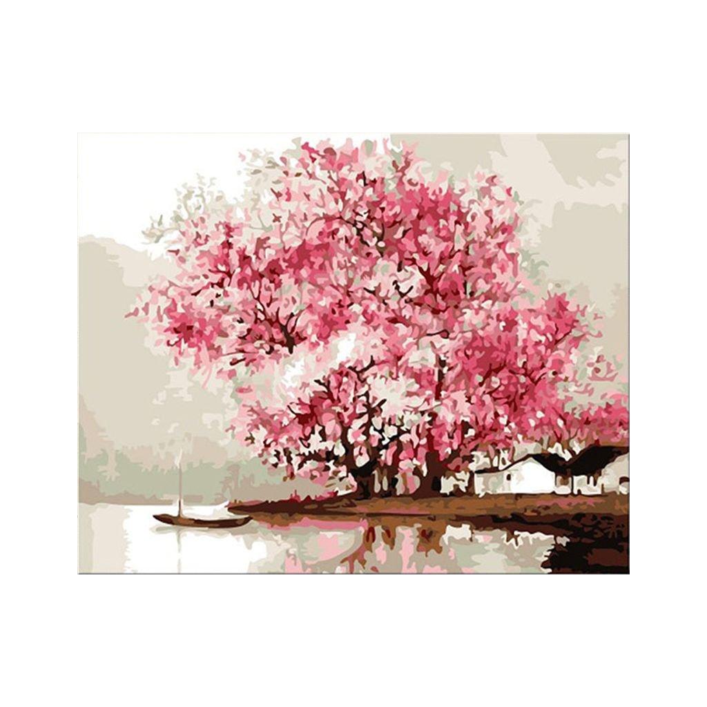 """Malování podle čísel s rámem """"Růžový strom"""" 50x40cm"""