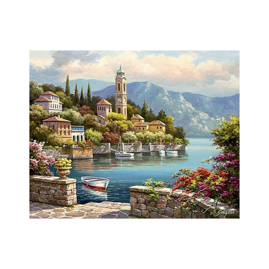 """Malování podle čísel s rámem """"Domy u jezera 2"""" 50x40cm"""