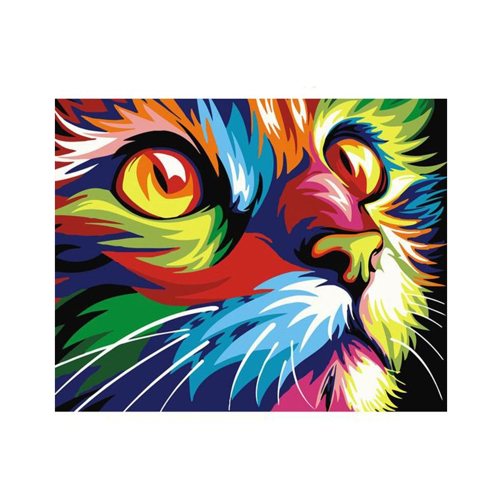"""Malování podle čísel s rámem """"Barevná kočka"""" 50x40cm"""